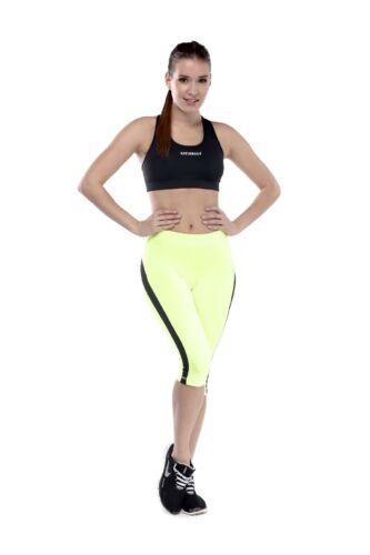 Capri nadrág, neonsárga, fekete csíkkal