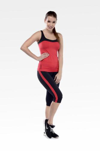 Capri nadrág, fekete, piros csíkkal