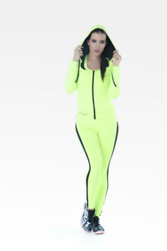 Fitnesz hosszúnadrág, neonsárga fekete íves csíkbetéttel