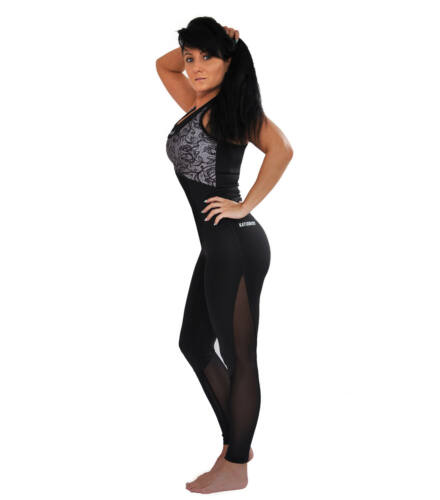 Fekete neccbetétes fitnesz nadrág