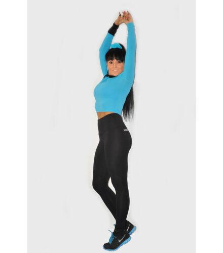 Hosszú női fitnessnadrág, térdben vágott, alul lyukcsos anyaggal kombinálva