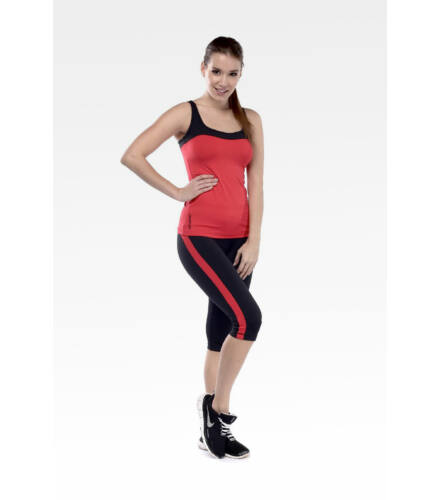 Akciós capri nadrág, fekete, piros csíkkal
