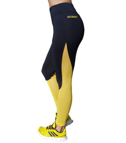 Fekete sárga neccbetétes fitnesz nadrág