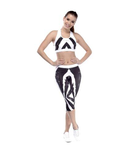 Ecsetes mintás capri nadrág, fekete-fehér