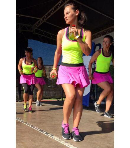 Fitnesz trikó neonzöld-rózsaszín