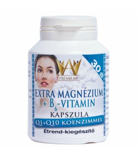 Prémium Extra Magnézium + B6-Vitamin kapszula, Q1+Q10 koenzimmel 30db